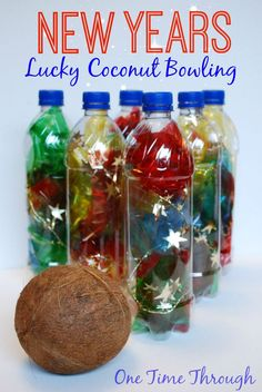 Find fun FAMILY NEW YEARS PARTY ideas in this post including this fun Lucky Coconut Bowling game, the Sorcova Wishing Stick Game, Melting Chocolate Fortunes and much more! {One Time Through} Bowling, New Year's Eve Activities, Christmas Activities, New Year's Crafts, Crafts For Kids, New Year's Eve Around The World, New Years Eve Games, New Year's Eve Cocktails, Nye Party