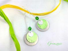 Boucles d'oreilles argentés avec sequin vert clert en capsule de café Nespresso recyclée