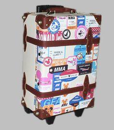 クラシックトランク スーツケースプリント