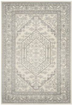 Safavieh Adirondack Collection ADR108B Ivory and Silver Area Rug, 4 feet by 6 feet (4' x 6')
