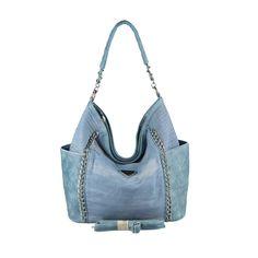 . OBC XXL DAMEN JEANS TASCHE Handtasche Schultertasche Hobo-Bag Kette Henkeltasche Bowling Beuteltasche Shopper CrossOver Blau 48x30x17 cm