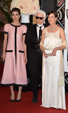 Karl Lagerfeld joined the Princess and her look-alike daughter Charlotte Casiraghi at the Monaco Rose Ball in 2015.    Photo: Getty Images