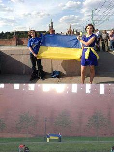 В России пользователи социальных сетей продолжат выкладывать фото с флагом Украины, в том числе на фоне Кремля