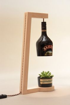 Bottle Lamp Handmade Table Lamp by woodmess on Etsy
