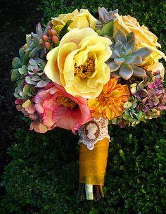 Succulent wedding bouquet.