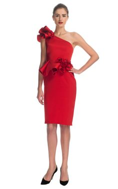 Sculpted One-Shoulder Dress With Peplum by Marchesa for Preorder on Moda Operandi $4400