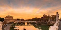 Golden hour... - The golden hour in Rome, with view to Castel Sant' Angelo and the Sant' Angelo bridge over the riverTevere , taken from Vittorio Emanuele II bridge.  The perfect combination of tranquility and fine sightseeing...  A panorama of three vertical shots.