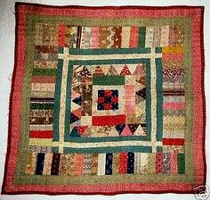 a scrappy little doll quilt a friend sent me a photo of some time ago. 2009 Lori ~ Humble Quilts a scrappy little doll quilt a friend sent me a photo of some time ago. Old Quilts, Antique Quilts, Scrappy Quilts, Small Quilts, Mini Quilts, Vintage Quilts, Baby Quilts, Crib Quilts, Antique Crib