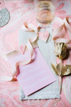 Alicia take note: Romantic Valentine's Day At Home | theglitterguide.com. ( obsessing over pink and gold everything right now)