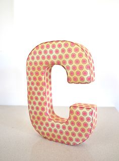 Fabric Letter Wall Decor in Pink - Letter C. $20.00, via Etsy.