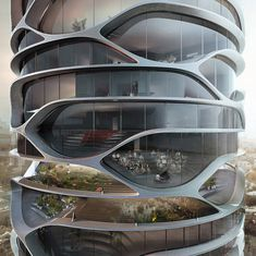 Gran Mediterraneo French architect David Tajchman recently released a conceptual design for a skyscraper to be built in Tel Aviv, Israel. The sky scrapper would house everything that a small community. Organic Architecture, Futuristic Architecture, Amazing Architecture, Interior Architecture, Futuristic City, Futuristic Design, Parametrisches Design, Edge Design, Architecture Organique