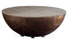 Kieran Drum Coffee Table - Antiqued Brass - Brownstone