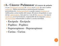 3.- Cáncer Pulmonar (El cáncer de pulmón es un crecimiento anormal de células en el tejido de uno o ambos pulmones. Dicho...