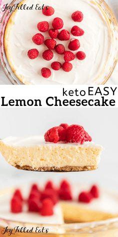 Lemon Cheesecake with Sour Cream Topping - Keto Low Carb Sugar-Free Gluten-Free Grain-Free THM S - Whip up this eas. Easy Lemon Cheesecake, Sour Cream Cheesecake, Cheesecake Recipes, Sugar Free Cheesecake, Desserts Keto, Keto Friendly Desserts, Dessert Recipes, Holiday Desserts, Keto Foods