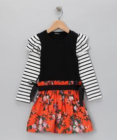 Black Stripe Floral Skirt Dress - Toddler & Girls