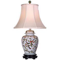 Song Birds Porcelain Temple Jar Table Lamp