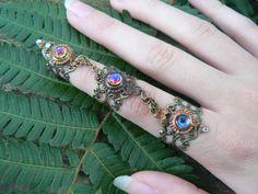 bermuda blue triple ring ring nail ring nail claw nail tip knuckle ring vampire goth victorian moon goddess pagan witch boho gypsy style
