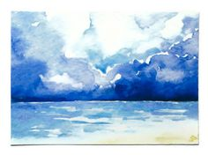 "ACEO ATC watercolor painting of a stormy ocean is 3.5"" x 2.5"". This is archival quality giclee print (the original has been sold). It is printed on heavy art paper and is hard to tell the print from t"