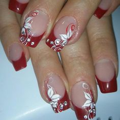 Nail design with a bow - Best Nail Art Nail Tip Designs, Flower Nail Designs, French Nail Designs, Flower Nail Art, Nail Polish Designs, Acrylic Nail Designs, Beautiful Nail Designs, Art Designs, Glitter French Nails
