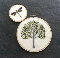 Tree Hoop Art Hand Embroidered Wall Wear in 6 inch por mlmxoxo