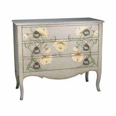 Distressed Grey Dresser Green Cream Peony Design   AGED GREY THREE DRAWER PEONY CHEST WITH MODERN CABRIOLE LEGS