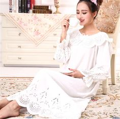 6bffb70b0d Womens Autumn Sleepwear Vintage Retro Princess Dress Nightgown Cotton Gown