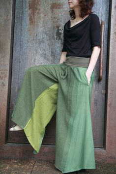 The stunning green tone super wide leg pants by smileclothing, $59.00