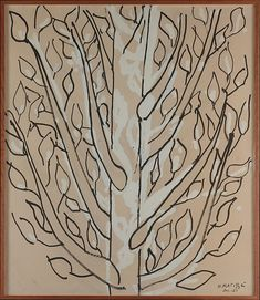 Tree Artist: Henri Matisse (French, Le Cateau-Cambrésis 1869–1954 Nice) Date: 1951 Medium: Brush and black ink, white gouache, and charcoal on tan paper mounted on canvas Dimensions: 70 x 60 in. (177.8 x 152.4 cm) Classification: Drawings Credit Line: The Pierre and Maria-Gaetana Matisse Collection, 2002 Accession Number: 2002.456.48 Rights and Reproduction: © 2015 Succession H. Matisse / Artists Rights Society (ARS), New York