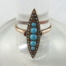 Victorian Seed Pearl, Gold, and Turquoise Ring for sale $195