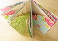 Folded pocket mini book tutorial. I'm thinking I could use book pages which are printed on two sides
