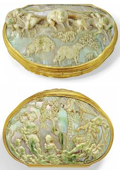 A CONTINENTAL GOLD AND MOTHER-OF-PEARL SNUFF-BOX PROBABLY DUTCH, CIRCA 1730  cartouche-shaped box, the cover and base each of high relief carved mother-of-pearl shells, the cover depicting the biblical story of David tending his sheep before his fight with Goliath, the base depicting David seeing Bathsheba bathing for the first time, with reeded polished gold sides and scroll thumbpiece