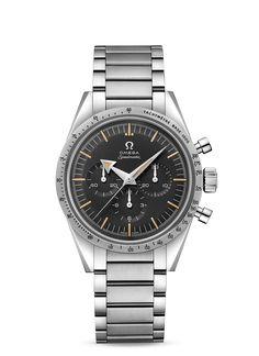 """OMEGA Speedmaster - 60th Anniversary Limited Edition - 38.6mm    The """"Broad Arrow"""" was not only the first Speedmaster, it was also the first chronograph wristwatch in the world with its tachymeter scale on the bezel as opposed to printed on the dial. With its perfect match of the original '57 tachymeter, this 2017 Speedmaster stays true to this design. It is powered by the 1861 calibre."""