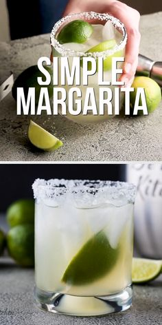 Simple Margarita Recipe - - Need a quick drink idea for your next Taco Tuesday? Then try our simple margarita recipe. A classic cocktail you can serve on the rocks or blended! Easy Margarita Recipe, Margarita Recipes, Smoothie Recipes, Original Margarita Recipe, Margarita Recipe For A Crowd, Cocktail Recipes, Snacks, Smoothie, Iced Tea
