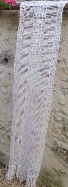 Single, Narrow, French Window Panel, Country Curtain. Handmade Vintage Filet  crochet lace. 73 inches long x 18inches. by FleursEnFrance on Etsy