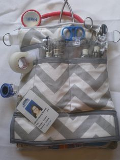 S.T.A.T. bag nurse tool and supply organizer, soft padded stethoscope zippered case, grey chevron with grey accent on Etsy, $40.00