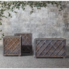 Weathered Steel Lattice Planters (2 615 AUD) ❤ liked on Polyvore featuring home, outdoors, outdoor decor, restoration hardware, weather proof box, handmade boxes, restoration hardware planters and weatherproof box
