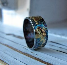 Mens Wedding Ring Hammered Silver Wide Rustic Bands Unique Band Jewelry Gift For Him Black Distressed