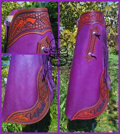 Custom chaps with revolver carved on yoke. By Chris Andre at Slickbald Customs Cowboy Gear, Cowboy Boots, Revolver, Cowboy Action Shooting, Rodeo Queen, Horse Gear, Cowgirl Outfits, Leather Projects, Custom Leather