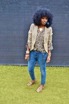 Style Pantry | Plaid Blazer + Leopard Print Shirt + Ankle Jean + Leopard Print Slippers