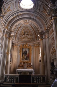"""San Gregorio Magno al Celiò, Rome.  Blessed Sacrament Chapel.  It is almost identical in design to that of St. Gregory.  the altarpiece is by Alberto De Rhodes 1893 and has the title """"England, the Dowry of Mary"""". It shows the Madonna and Child with SS Joseph, Peter, Gregory and a saint with a palm-branch-Andrew?"""