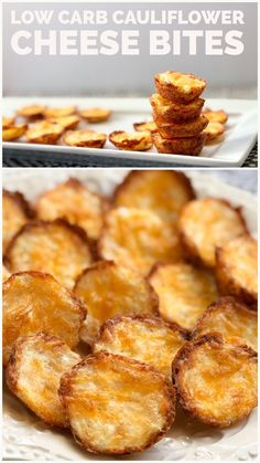 These Low Carb Cauliflower Cheese Bites are a fast and easy low carb snack. Your kids will love snacking on these Cheesy Cauliflower Bites. They are perfect for a low carb or Ketogenic Diet. Cauliflower Cheese, Cauliflower Bites, Easy Cauliflower Recipes, Low Carb Meal Plan, Low Carb Keto, Low Carb Recipes, Snack Recipes, Healthy Recipes, Cheese Snacks