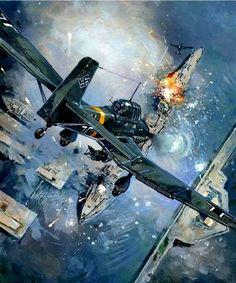A Flight of Junkers JU-87 attacking a North Sea convoy.