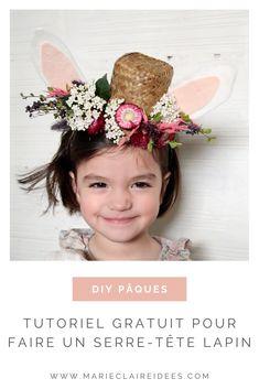 DIY Pâques : découvrez un tutoriel gratuit pour faire un serre-tête lapin pour enfant Easy Crafts For Kids, Handmade Toys, Deco, Beautiful, Alice Band, Floral, Rabbits, Basket, Women's