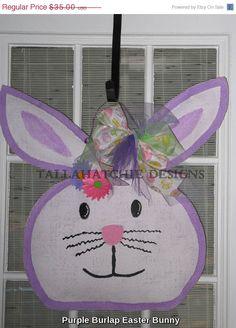 40% Off Easter Sale.....Burlap Easter Bunny Door Hanger  Easter by TallahatchieDesigns