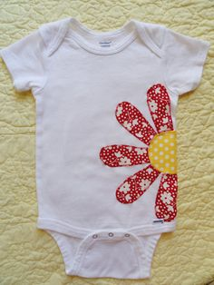 24 Month Flower Onesie Applique Red Yellow by RileyRaniDesigns, $15.00