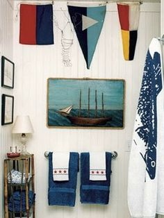 Decorating with nautical flags.