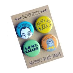 Arrested development, Buster Bluth magnets, buster bluth pins, badges, loose seal, hey brother pin by ArthursPlaidPants on Etsy https://www.etsy.com/listing/106305810/arrested-development-buster-bluth