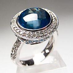Blue Topaz & Diamond Halo Cocktail Ring Solid 14K White Gold