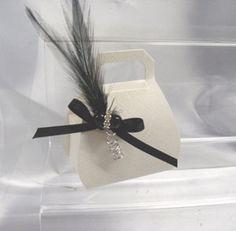 Soft White silk handbag Favour box
