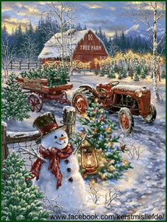 Christmas time at a tree farm. The wagon behind the tractor is filled with christmas trees. A tree with colorful christmas lights next to the snowman. Gif. I added some twinkle lights and a border to it. DF.